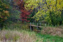 Historic, weathered footbridge over creek in scenic fall field. Scenic Western Wisconsin, weathered footbridge over creek with fall trees and long grass Royalty Free Stock Photos