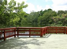 Scenic view overlooking wetlands. Scenic wetlands walkway at Flamingo Gardens in Davie, Florida, United States of America royalty free stock photo