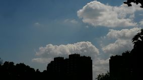 Scenic white cumulus clouds in city stock footage