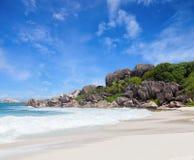 Scenic  white sand beach with granite boulders,  La Digue, Seychelles Stock Photos