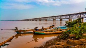 Scenic wide view of railway bridge across the Godavari river . royalty free stock photo