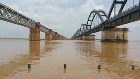 Scenic wide view of railway bridges on a river. royalty free stock photo