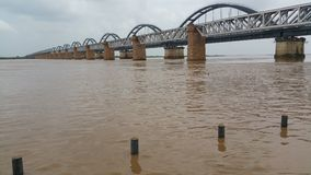 Scenic wide view of railway bridges on a river. stock images