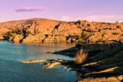 Scenic Willow Lake  Prescott Arizona. A scenic of beautiful willow lake near prescott arizona with granite rock formations near sunset Royalty Free Stock Photo