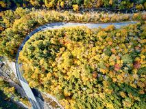 Scenic winding highway in autumn. Scenic Mohawk Trail winding highway at autumn, Massachusetts, USA. Fall in New England. Aerial drone shot stock photos
