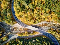 Scenic winding highway in autumn. Scenic Mohawk Trail winding highway at autumn, Massachusetts, USA. Fall in New England. Aerial drone shot stock images