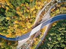 Scenic winding highway in autumn. Scenic Mohawk Trail winding highway at autumn, Massachusetts, USA. Fall in New England. Aerial drone shot royalty free stock images