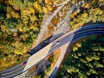 Scenic winding highway in autumn. Scenic Mohawk Trail winding highway at autumn, Massachusetts, USA. Fall in New England. Aerial drone shot royalty free stock photo