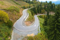Scenic winding mountain highway in Georgia. Aerial photography stock photo