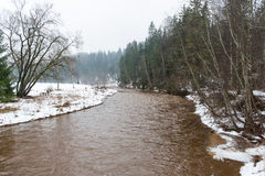 Scenic winter colored river in country Royalty Free Stock Image