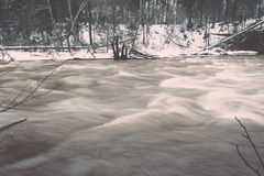 Scenic winter colored river in country - vintage retro Stock Photos