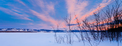 Scenic winter at frozen Lake Laberge Yukon Canada Royalty Free Stock Photo