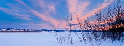 Scenic winter at frozen Lake Laberge Yukon Canada royalty free stock photo