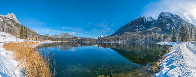 Scenic winter landscape in Bavarian Alps at mountain lake Hintersee, Germany Royalty Free Stock Photos