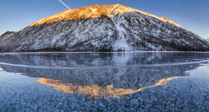 Scenic winter landscape with mountains Stock Photo
