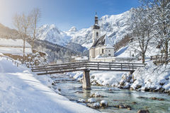 Free Scenic Winter Landscape With Pilgrimage Church In The Alps Royalty Free Stock Photos - 51401358