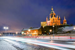 Scenic winter view the Uspenski Orthodox Cathedral in Helsinki Finland Royalty Free Stock Photo