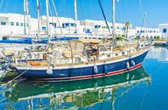 The yachts in Monastir. The scenic yachts in Monastir marina are perfect for the romantic trips along the coast, Tunisia royalty free stock photography