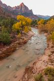 Scenic Zion National Park Fall Landscape Stock Photos