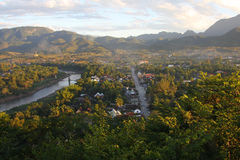 Scenical of Luang Prabang town. River and road in small town from highest poini at Phu Si hill in Luang Prabang, UNESCO world heritage town in Laos stock photos