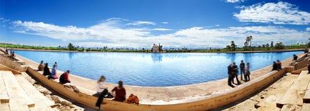 Scenical Menara garden.Travel to morocco. Scenery Menara garden in Marrakech Royalty Free Stock Photography