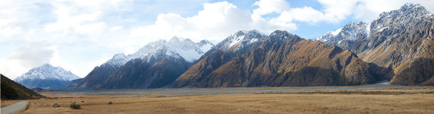 Scenics of mount Tasman valleys Aoraki Mt Cook Royalty Free Stock Photo