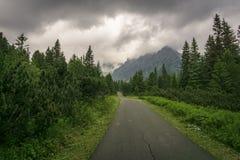 Sceniczna droga w kierunku gór Sistani wysokie tatras Ne Obraz Stock