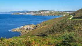 Sceniczna linia brzegowa blisko Malpica De Bergantinos, Coruna prowincja, Galicia Zdjęcia Royalty Free