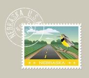 Sceniczna Nebraska ziemia uprawna z Meadowlark royalty ilustracja