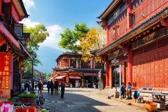 Sceniczna ulica Dali Stary miasteczko w jesieni, Yunnan prowincja, Chiny Fotografia Stock