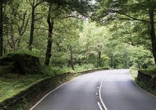 Sceniczna wiejska droga w Północnym Anglia jeziora okręgu zdjęcie stock