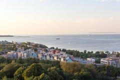 Scenicznego lata linii horyzontu piękna powietrzna panorama Stary miasteczko w Tallinn, Estonia obraz royalty free