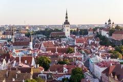 24-27 08 2016 Scenicznego lata linii horyzontu pięknych powietrznych panoram Stary miasteczko w Tallinn, Estonia Zdjęcie Stock