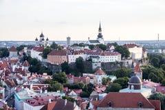 24-27 08 2016 Scenicznego lata linii horyzontu pięknych powietrznych panoram Stary miasteczko w Tallinn, Estonia Zdjęcia Royalty Free