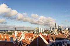 24-27 08 2016 Scenicznego lata linii horyzontu pięknych powietrznych panoram Stary miasteczko w Tallinn, Estonia Fotografia Royalty Free