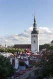 24-27 08 2016 Scenicznego lata linii horyzontu pięknych powietrznych panoram Stary miasteczko w Tallinn, Estonia Obraz Stock