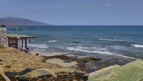 Sceniczny krajobraz na wyspie Lanzarote w atlantyckim oceanie obrazy royalty free