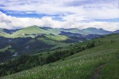 Sceniczny lato g?r widok z chmurnym niebem carpathians obrazy royalty free