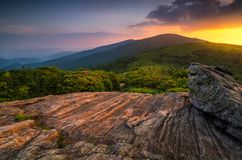 Sceniczny lato zmierzch, Appalachian ślad, Tennessee fotografia royalty free