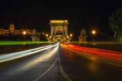 Sceniczny noc widok Łańcuszkowy most w Budapest, Węgry Fotografia Stock