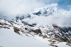 Sceniczny pocztówka widok sławny miejsce, Grossglockner góra z chmurą & mgła, Austria Zdjęcia Royalty Free