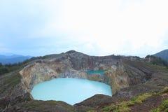 Sceniczny Trzy Barwionego jeziora Kelimutu, Ende Obrazy Stock