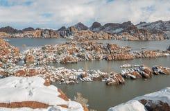 Sceniczny Watson Jeziorny prescott Arizona w zimie Fotografia Stock