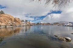Sceniczny Watson prescotta Arizona zimy Jeziorny krajobraz Obraz Stock