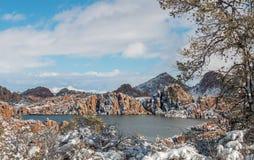 Sceniczny Watson prescotta Arizona zimy Jeziorny śnieg Obraz Royalty Free