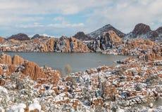 Sceniczny Watson prescotta Arizona zimy Jeziorny śnieg Zdjęcie Royalty Free