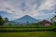 Sceniczny widok Amed zatoka w Bali z wulkan górą Agung w tle Obraz Stock