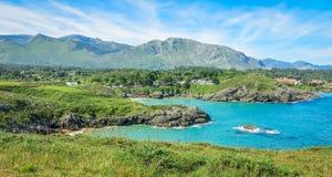 Sceniczny widok blisko Playa De Troenzo, Celorio, Asturias, północny Hiszpania Obrazy Stock