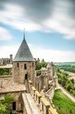 Sceniczny widok Carcassonne kasztel w Francja. Fotografia Royalty Free