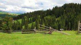 Sceniczny widok góry natura i stara wioska na wzgórzach z drewnianymi kabinami Pogodny wiosna dzień z zieloną trawą, kwitnie ja zdjęcie wideo